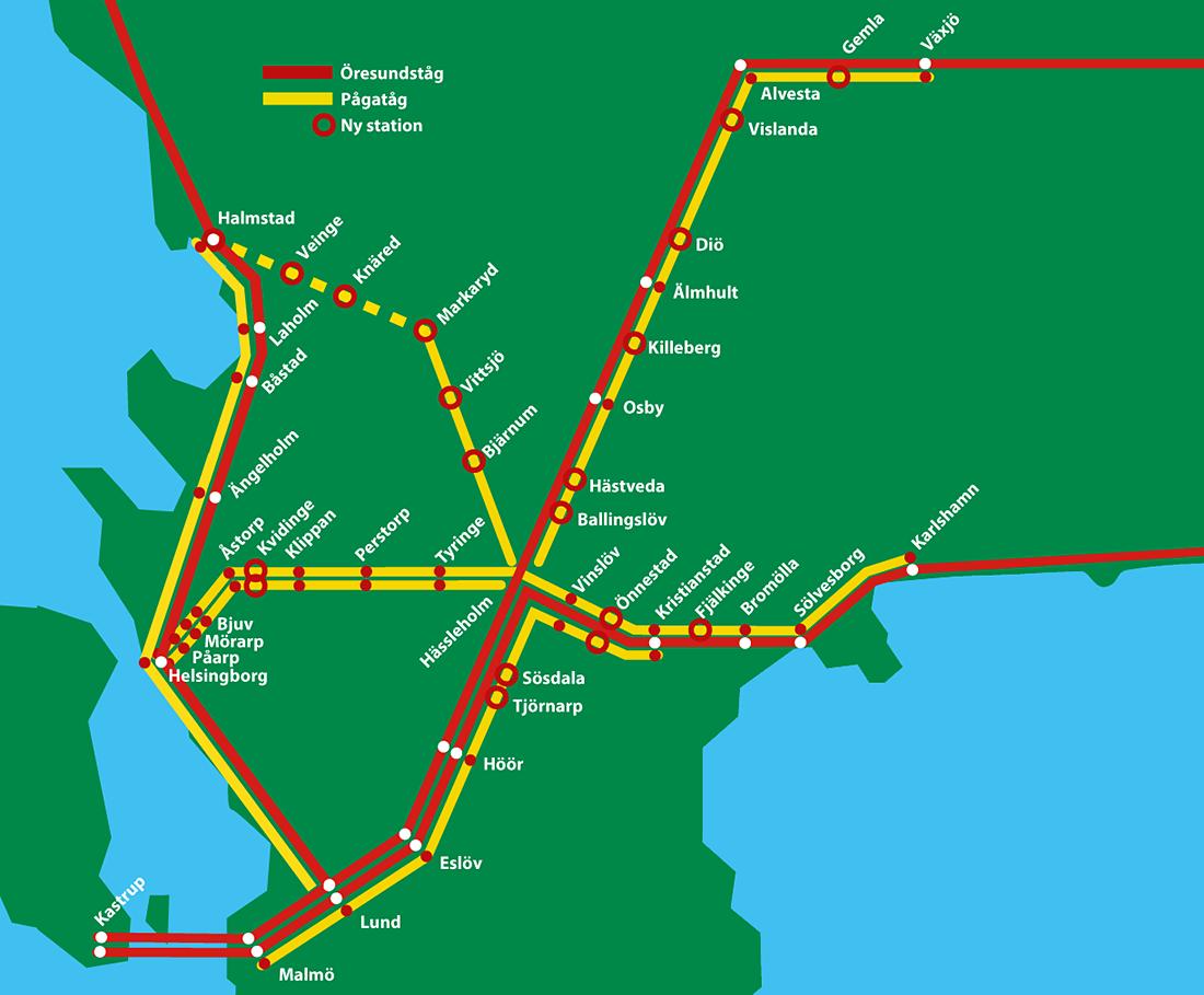 pågatåg karta Pågatåg Nordost – SEXTON KOMMUNER I SAMVERKAN TILLSAMMANS MED  pågatåg karta